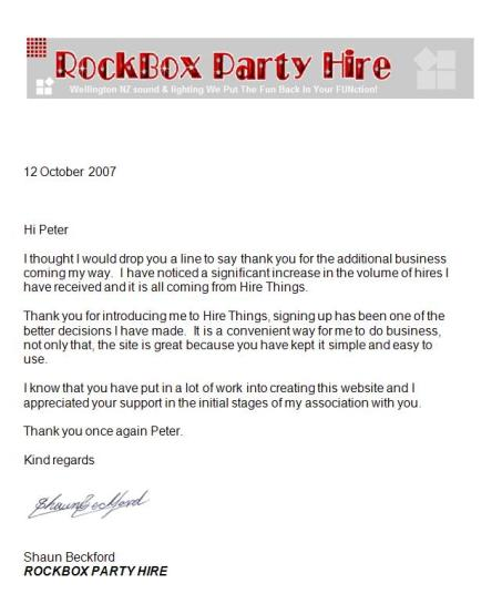 Letter from Rockbox