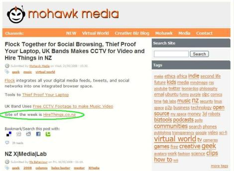 Site of the week on social media website MohawkMedia