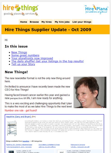 October 2009 Suppliers' Update